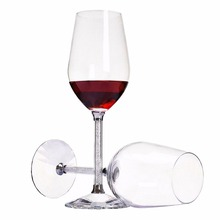 KEYTREND 470ML Crystal Wine Glass Luxury Toasting Wine Goblets for Wedding Party with Rhinestones Filled Stem Glass AECL010