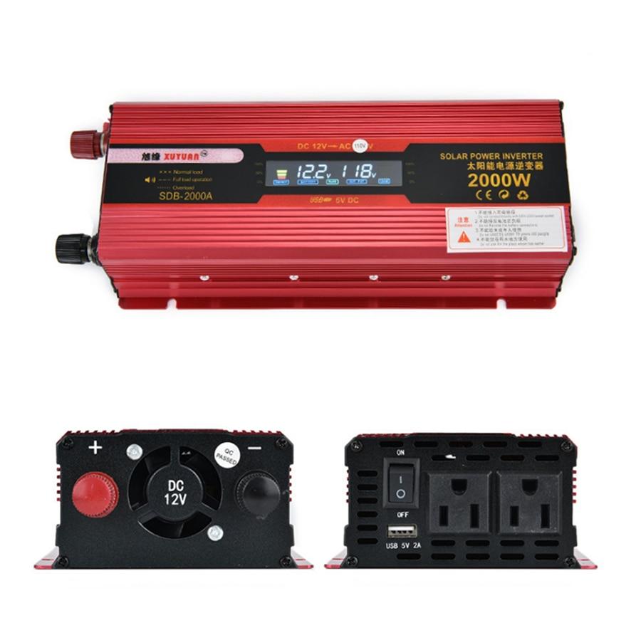 2000W Car LED Power Inverter Converter DC 12V To AC 110V 4 USB Ports Charger LCD Display US 110V Only 100w car dc 12v to ac 110v power inverter w usb power port black