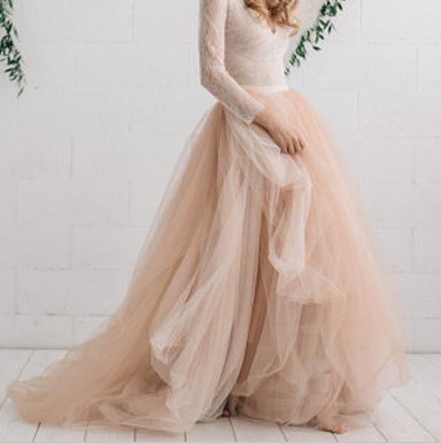 5ac2561499d37 Elegant Champagne Solf Tulle Skirt Custom Made Extra Puffy Ball Gown Bridal  Wedding Skirts 2018 Dramatic Engagement Photos