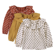 2019 Girls clothes long sleeve shirts for girls blouse cotton baby girls princess shirts toddler casual tops Dot children shirts cheap JX·YSY Linen Rayon Full Fits true to size take your normal size Worsted polka dot F10383 REGULAR O-Neck toddler girl shirts