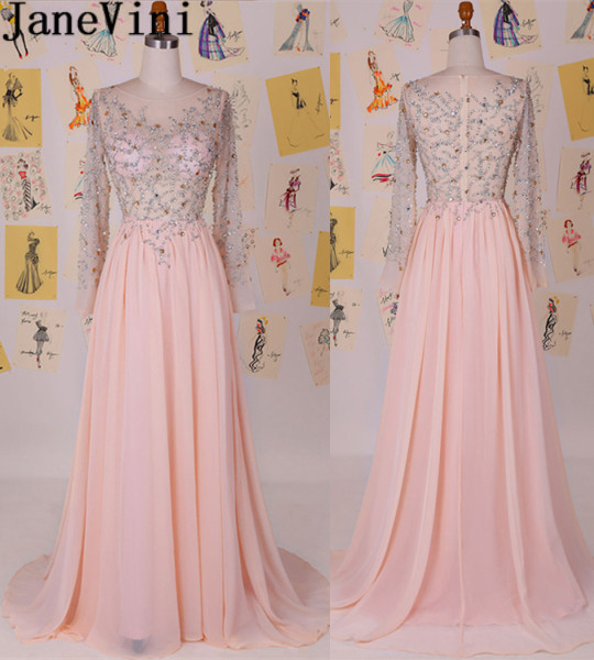 JaneVini Sexy Sheer Top Long Prom   Dresses   Pink Beaded Long Sleeve Women Formal Gowns Sparkly Crystal Chiffon   Bridesmaid     Dresses