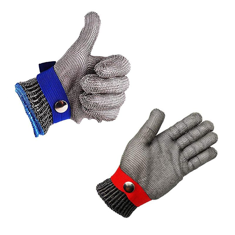 Blue Red Safety Cut Proof Stab Resistant Stainless Steel Metal Mesh Butcher Glove High Performance Level 5 ProtectionBlue Red Safety Cut Proof Stab Resistant Stainless Steel Metal Mesh Butcher Glove High Performance Level 5 Protection