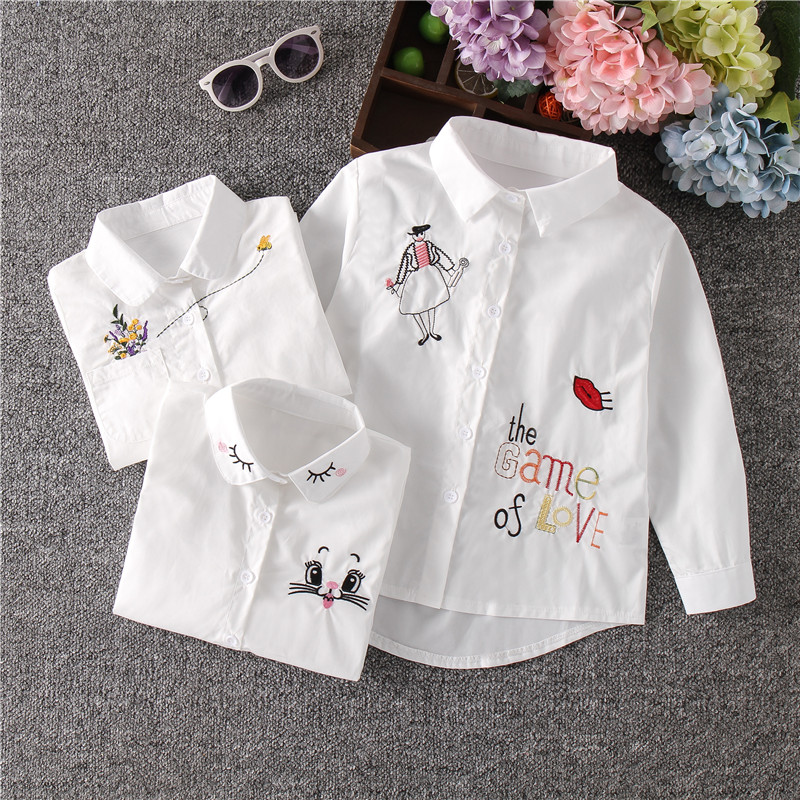 New Arrival Girls White Blouse Fall Cute Long Sleeves Children Cartoon Shirts Girl Blouses Cat Teenager School Clothes Kids Tops