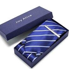 New Design Tie Set With Gift Box Jacquard Woven gravata Silk Hanky Cufflinks&Tie clips  Necktie Sets For Wedding Party Men