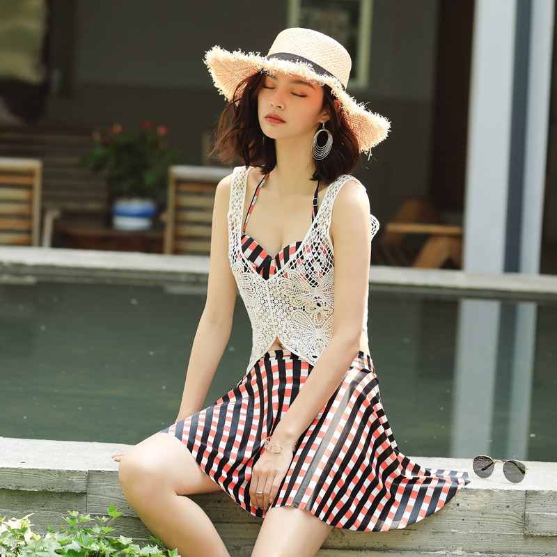 Independent pleated skirt White lace blouse four Pieces swimsuit 2018 new Sexy Push Up bikini swimwear beach women bathing suits inc new solid white women s size 8 sheer pleated front peasant blouse $69