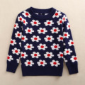 Meninos Camisola Crianças Outono Inverno Padrão de Flor Roupas Meninos Colete de Malha Crianças Blusas De Lã Cardigan Crianças Meninas Camisola