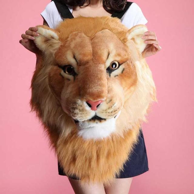 Tigre Leão Mochila Famoso Zíper Marca Mochilas Mujeres moda Mochila Grande Adorável Animal Mochila Popular New Lindo XA375B