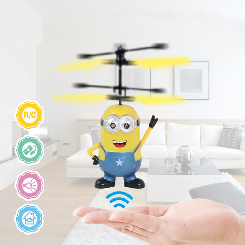 Drone RC Helicopter Aircraft Mini drone Fly Flashing Quadcopter Hand Control Small yellow people Toys