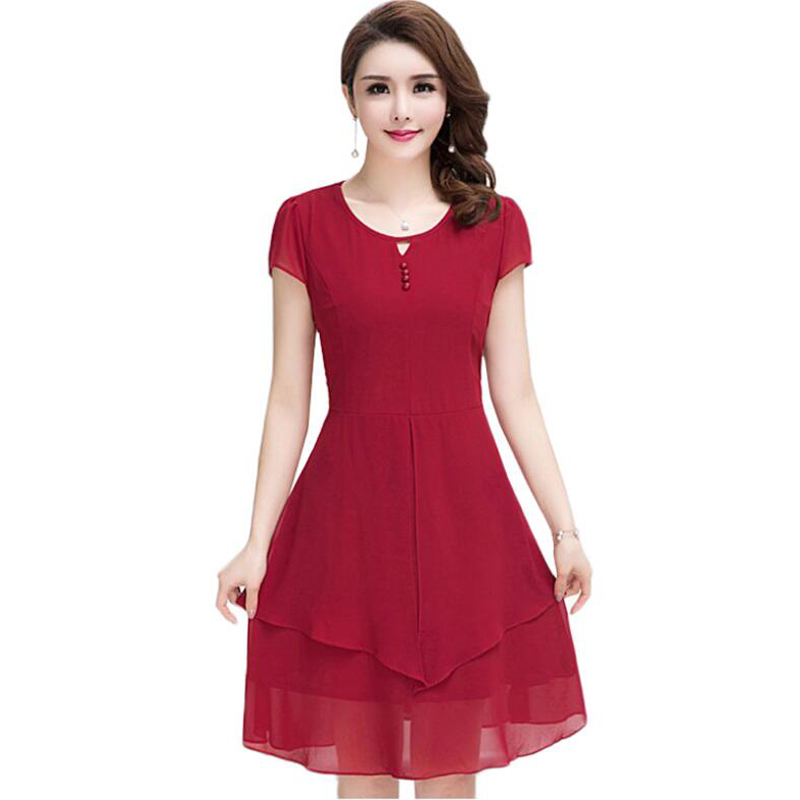 Bohemia Elegant Women Dress High-Quality 2018 Chiffon Summer Dress New Pure Color Plus Size 5XL Beach Dress Fashion Clothing