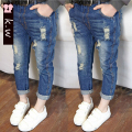 KW Brand 3-8T Spring 2017 Hole jeans for girls kids ripped jeans fashion girls clothing jeans for teenagers girl denim jeans