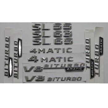 Cromado brillante coche plateado tronco trasera con números letras palabras insignia emblema emblemas pegatina para Mercedes Benz SL55 SL63 SL65 AMG 4MATIC