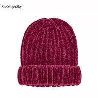 SheMujerSky Mujeres Sombrero Que Hace Punto Grueso Gorro Beanie Caps Solid Warm Sombreros de Invierno Para Las Mujeres del Casquillo Gorros Rojos