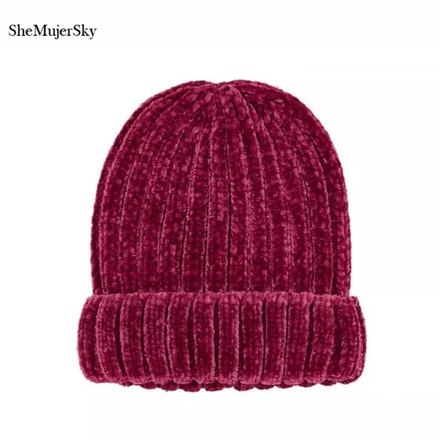 SheMujerSky Women Hat Knitting Thick Bonnet Beanie Caps Solid Warm Winter  Hats For Women s Cap Red Beanies 0bda75c0a9b