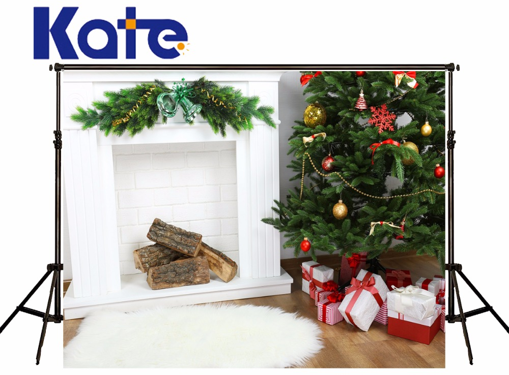 Kate Background Photography Christmas Tree White Fireplace Wood Floor Christmas Photo Backdrop For Newborn Studio Background 10ft 20ft romantic wedding backdrop f 894 fabric background idea wood floor digital photography backdrop for picture taking