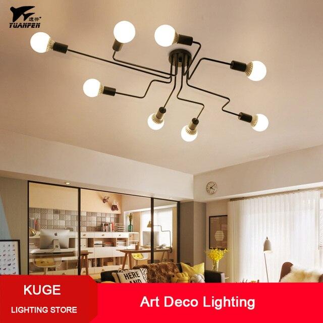 Несколько стержней кованые железные потолочные светильники для гостиной винтажные промышленные Лофт скандинавские потолочные светильники для домашнего освещения светильники
