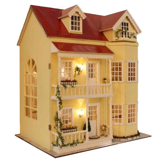 Large diy wooden dollhouse villa Miniature Wooden Building Model Furniture Model For child Toys Birthday Gifts A010 d030 diy mini villa model large wooden doll house miniature furniture 3d wooden puzzle building model