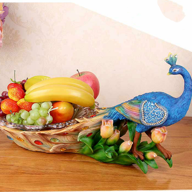European style fruit plate luxury living room coffee table candy Phoenix glass fruit plate decoration wedding gift AP502919