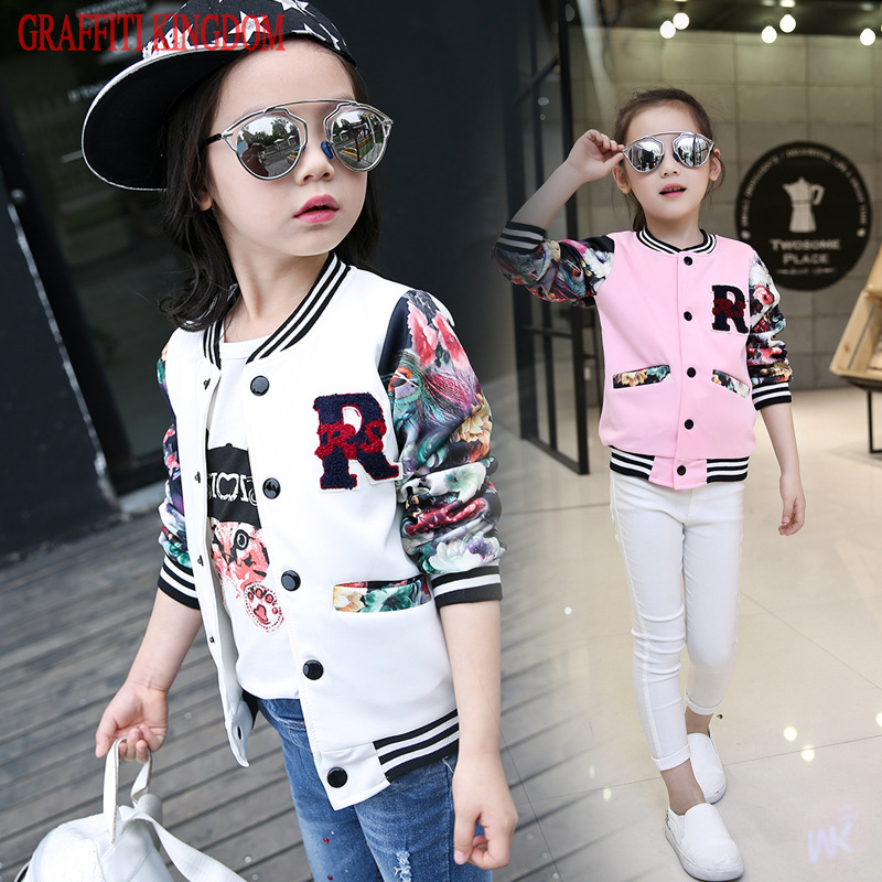 New Arrival 2017 girls baseball clothing Spring and Autumn teenage girls coats and jackets children fashion outerwear brand