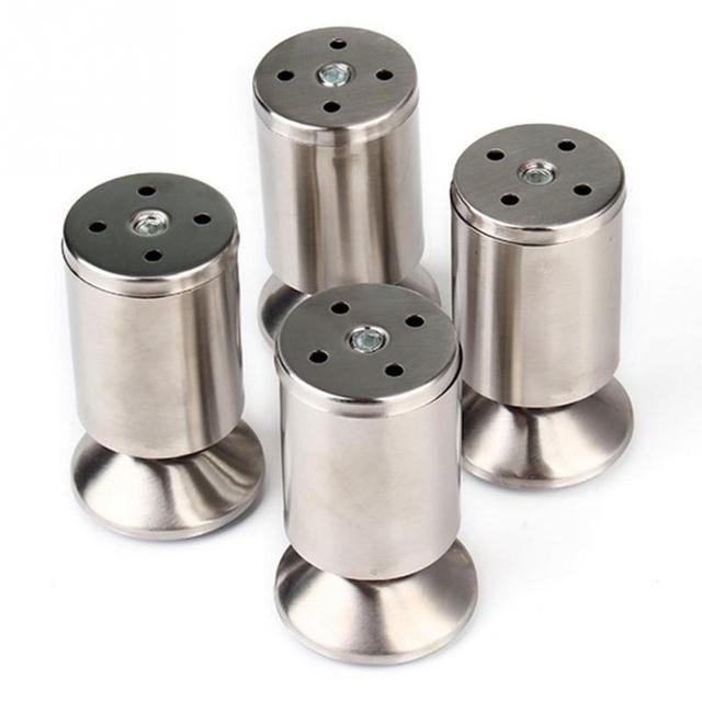 4pcs Pack Stainless Steel Modern Sofa Legs Furniture Adjule Feet Height Kitchen Leg Silver