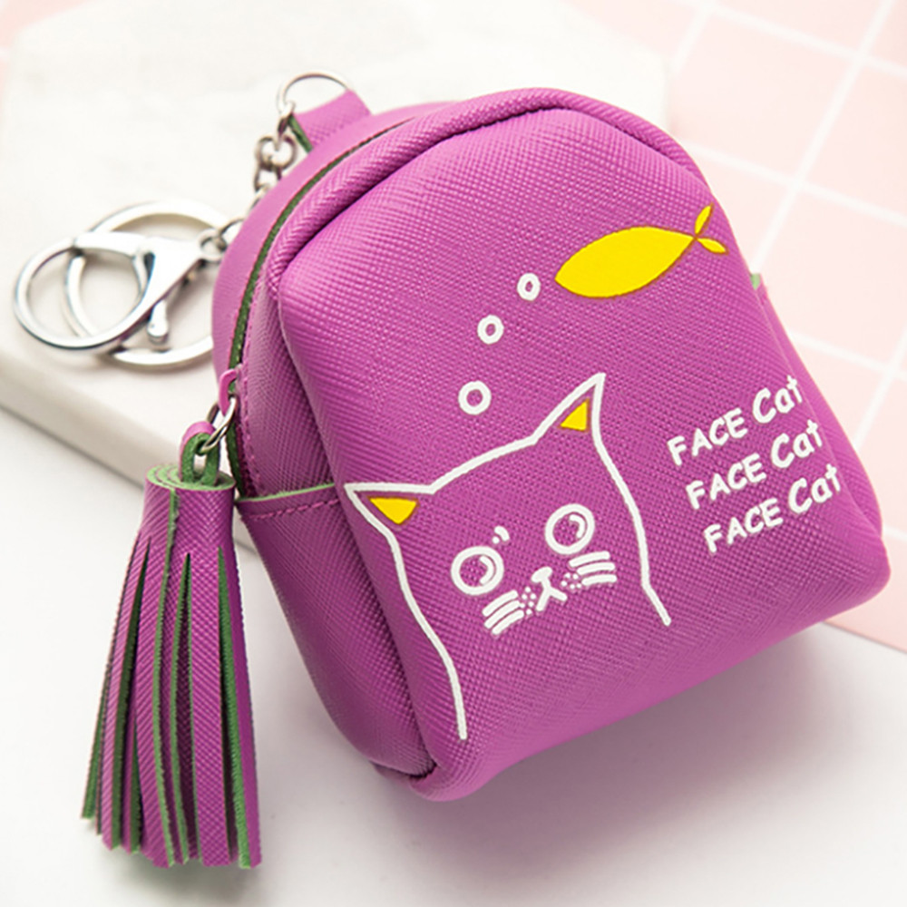 Fashion Coin Purse Wallet Bag Women Girls Cute Cat Pattern Tassel Design Money Change Pouch Key Holder Bolsos 2017 new mini bag leather coin purse header key wallet money card holder change wallet pouch change purse wholesale high quailty