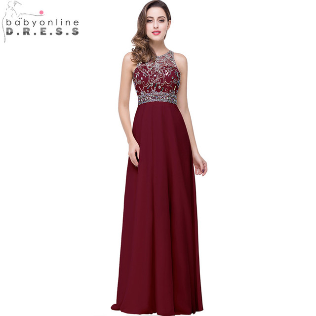 06beca8fa16 In Stock Sparkly Beaded Crystal Burgundy Prom Dresses Long 2017 Sexy Open  Back Sheer A-line Chiffon Evening Party Dresses