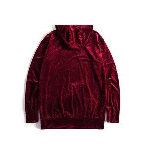 Image 5 - Sudadera con capucha de terciopelo liso para hombre, ropa de calle, Kanye West, cuello redondo, hombro caído, sudaderas de manga larga de terciopelo, sudaderas con capucha Hip Hop, M XL Pop juvenil 2018