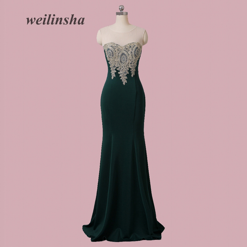 weilinsha Plus Size Cheap In Stock   Bridesmaid     Dresses   Sexy Mermaid Jersey High Quality Floor Length Maid of Honor   Dress