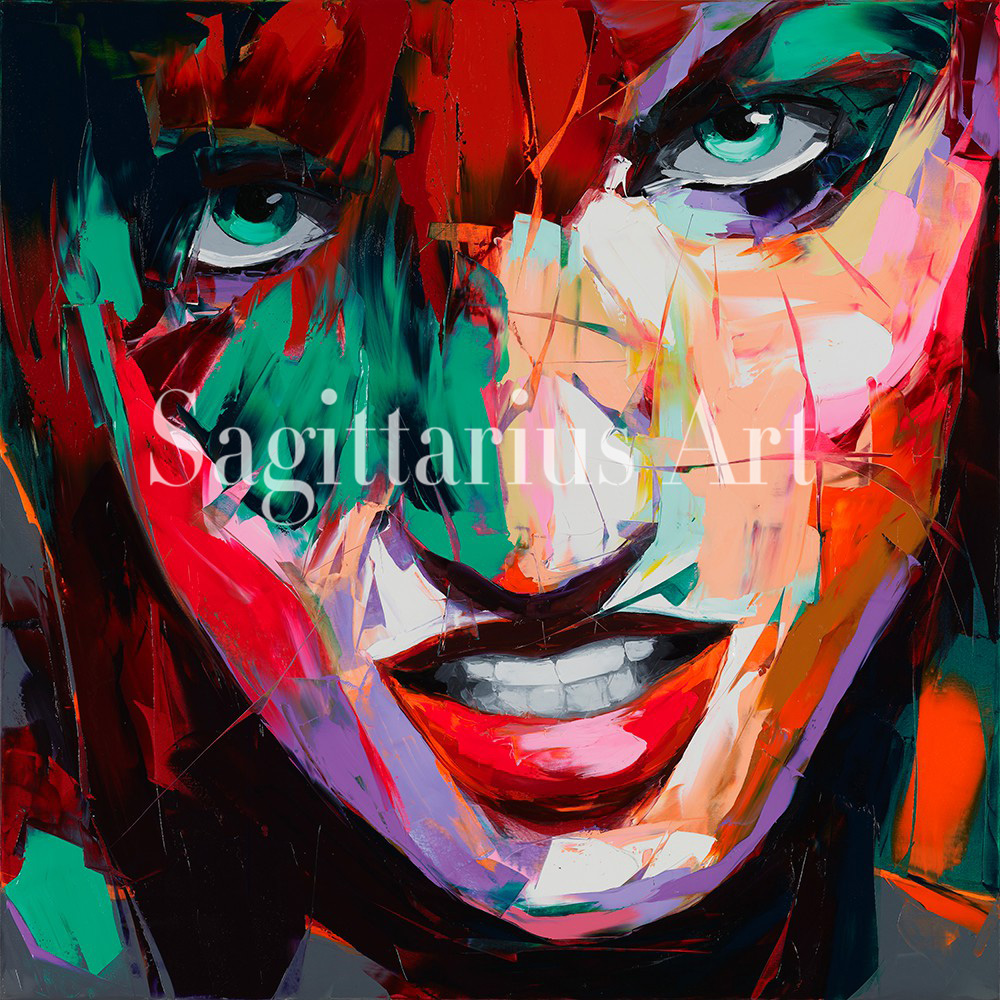 Us 96 0 Hand Painted Designer Nielly Francoise Abstract Knife Palette Cool Face Poster Oil Painting Canvens Home Wall Decor Living Room In Painting