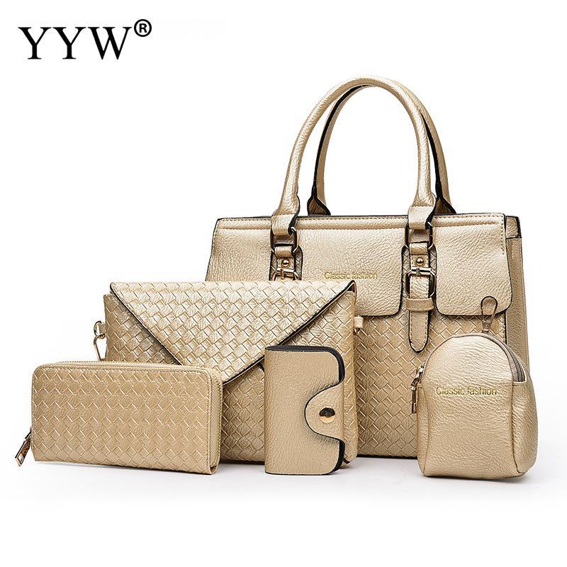 5 PCS/Set Gold PU Leather Handbags Women Bag Set Brands Top-Handle Bag Lady's Shoulder Crossbody Bags Clutch Bag Womens'Pouch все цены