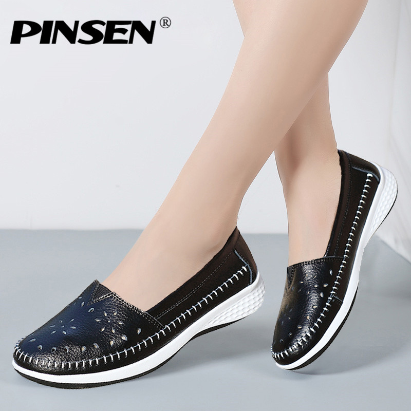 PINSEN 2018 Spring Flat Shoes Women Genuine Leather Solid Slip On Moccasins Loafers Shoes Woman Round Toe Ladies Shoes Creepers kuidfar women shoes woman flats genuine leather round toe slip on loafers ladies flat shoes skid proof spring autumn footwear