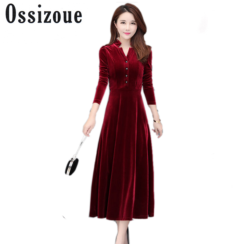 89528a42566 Plus Size 4xl Vintage New Black Winter Velvet Dress 2018 women Solid Long  Sleeved Vestido Longo. US  25.25. Runway Dresses ...