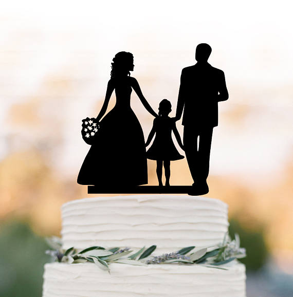 Family Wedding Cake topper with girl, bride and groom silhouette ...