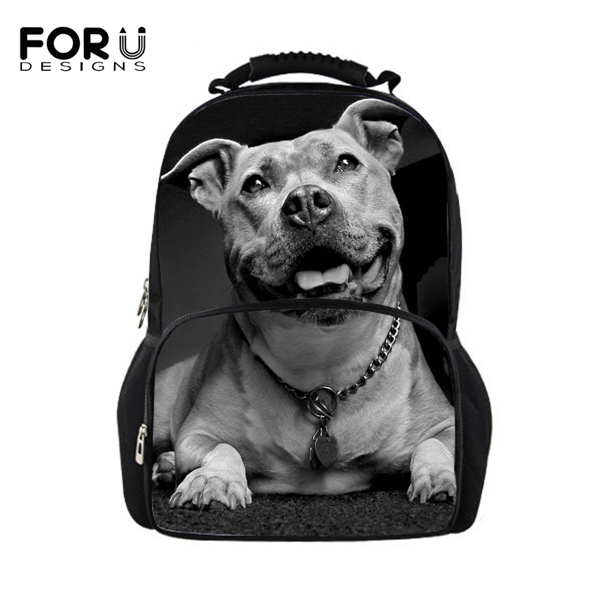 FORUDESIGNS Men Backpack Homme Fashion Backpacks Animal Pit Bull Dog Printing Backpack for College Boys Cool Male Back Pack crazy pit bull lady apbt dog vinyl window decal dog sticker