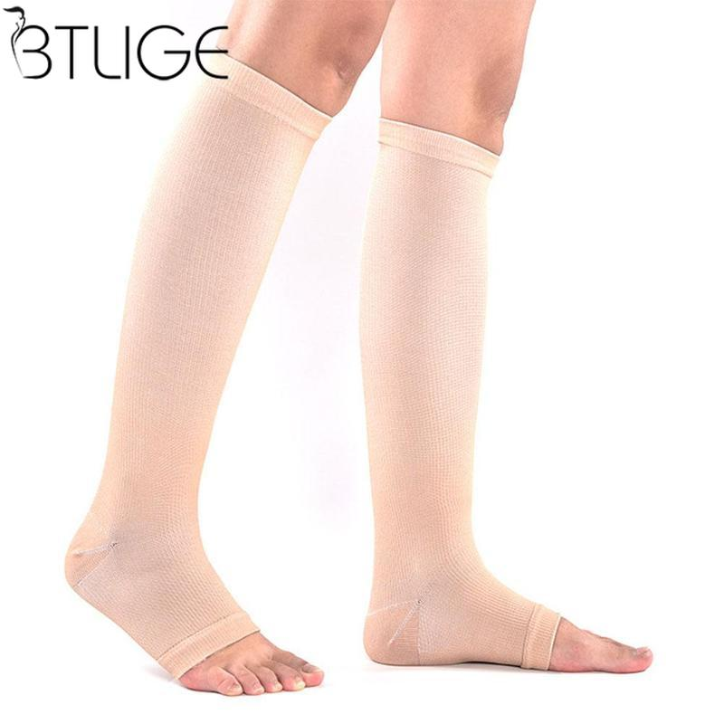 Women Men Unisex Open Toe Compression Knee Leg Relief Pain Support   Socks   Relief Therapeutic Anti-Fatigue Compression   Socks