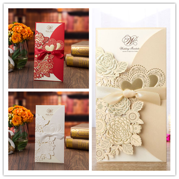 50pcs/set  free envelop and free seal  embossing laser cut with ribbon side folded invitation  CX075