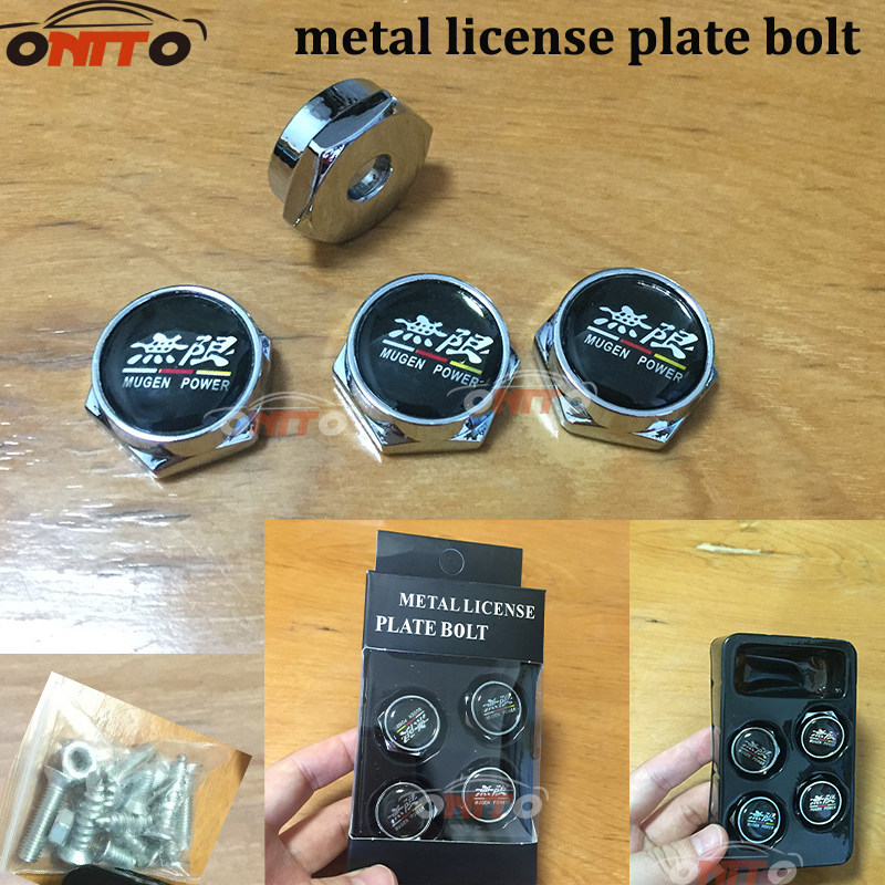 1 set Chrome Metal Universal Car Truck License Plate Frames Tag Cap Domestic Metal Fasteners Screw Caps Cover