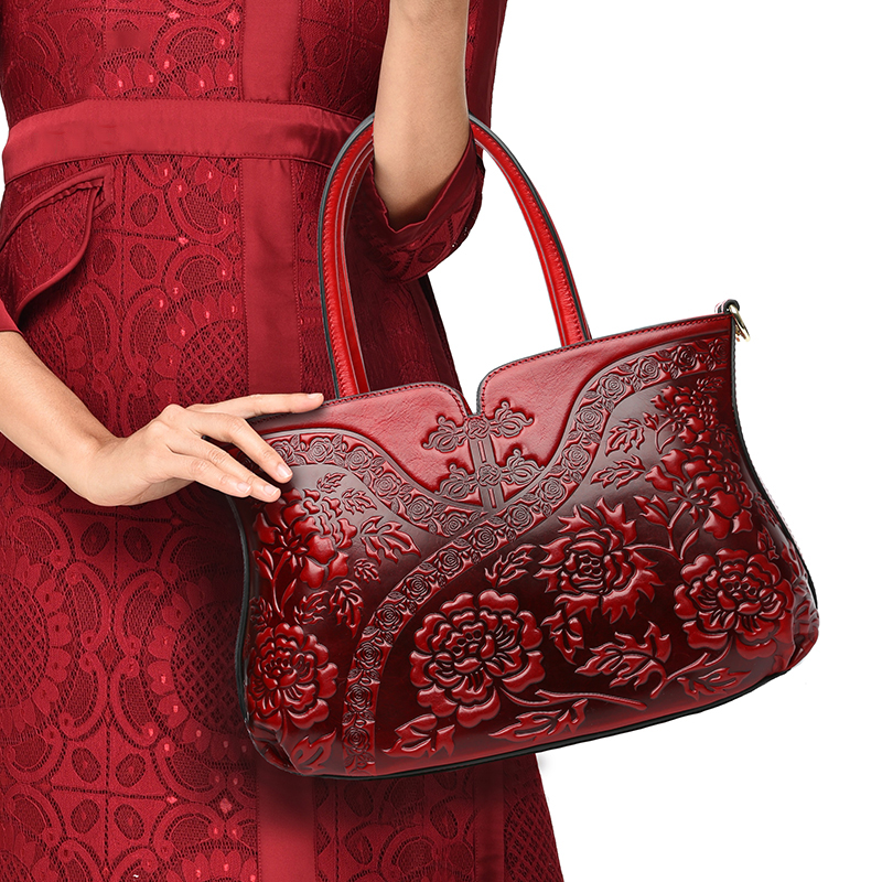 Maihui Women leather handbags high quality real cow genuine leather bag 2018 new chinese style floral casual shoulder tote bags women leather handbags high quality real cow genuine leather bags new fashion chinese style floral shoulder bag casual tote bag