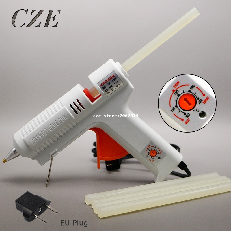 Free Shipping 220v 40-150w Hot Melt Glue Gun Temperature Adjustable Repair Kit Tools with 5 Pcs Glue Sticks