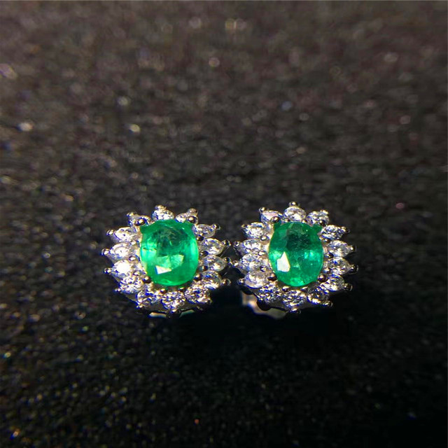 Vintage Emerald Stud Earrings 3 5mm Natural Silver Solid 925 Sterling