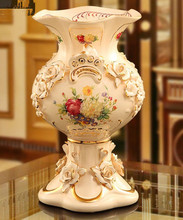 Fashion vase ceramic crafts living room decorative vase embossed vase