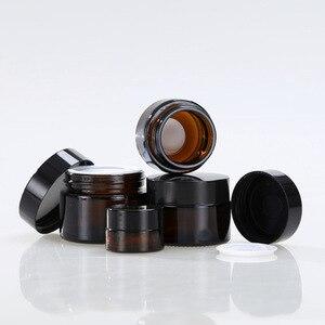 Image 2 - 5g 10g 15g 20g 30g 50g bursztynowy szklany krem do twarzy słoik kosmetyczny próbka pojemnik do pakowania wielokrotnego napełniania garnek z czarna pokrywa do podróży