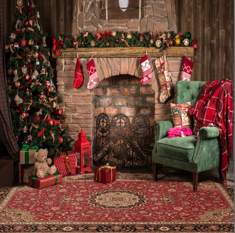 Christmas Fire Place.Us 18 75 25 Off Indoor Fireplace Christmas Photo Background Printed Xmas Tree Toy Bear Gift Boxes Chair Kids Family Party Photography Backdrops In