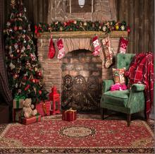 Lareira interior Foto Fundo Impresso Árvore de Natal Urso de Brinquedo de Presente de Natal Caixas de Cadeira Crianças Festa de Família Backdrops Fotografia