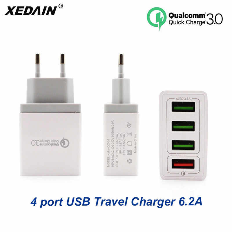 XEDAIN EU/US Phone Fast USB Charger High Quality Plug 4 Ports USB Quick Charger QC 3.0 For Apple Samsung Huawei Xiaomi Sony VIVO