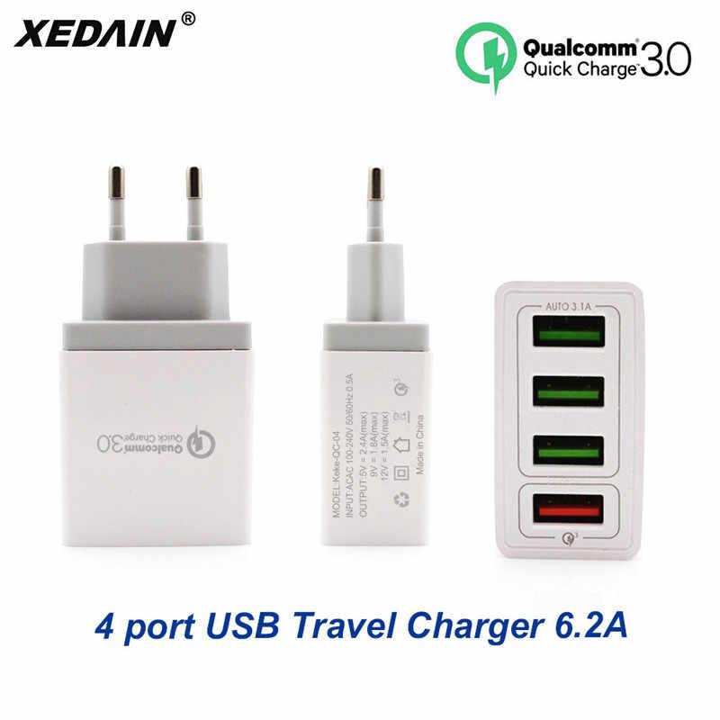 XEDAIN الاتحاد الأوروبي/لنا الهاتف سريع شاحن يو اس بي عالية الجودة التوصيل 4 منافذ USB شاحن سريع QC 3.0 ل أبل سامسونج هواوي Xiaomi سوني فيفو