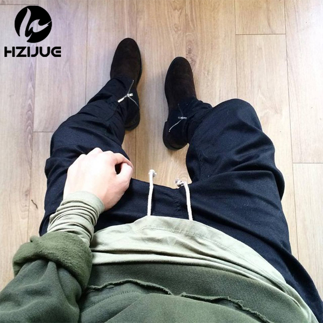 2016 New Arrival men  Pants Rubber elastic pants feet zipper casual pants Overalls Beam foot trousers Justin Bieber