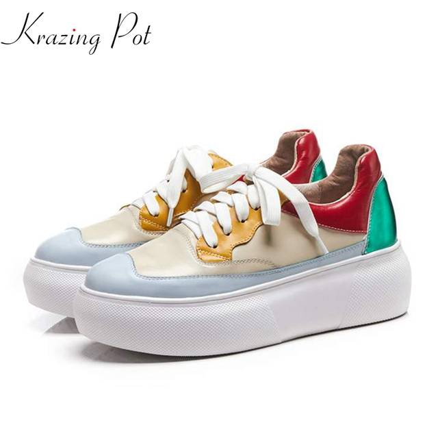 big sale 2a1e6 1c10d Krazing Pot new Hollywood genuine leather superstar vintage colorful mixed  color round toe lace up sneakers vulcanized shoes L12