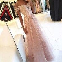 핑크 2019 댄스 파티 드레스 a 라인 오프 숄더 아가씨 페르시 레이스 tulle long prom 가운 이브닝 파티 드레스 robe de soiree