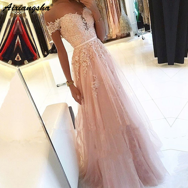 Pink 2019   Prom     Dresses   A-Line Off the Shoulder Sweetheart Beaded Lace Tulle Long   Prom   Gown Evening Party   Dresses   Robe De Soiree