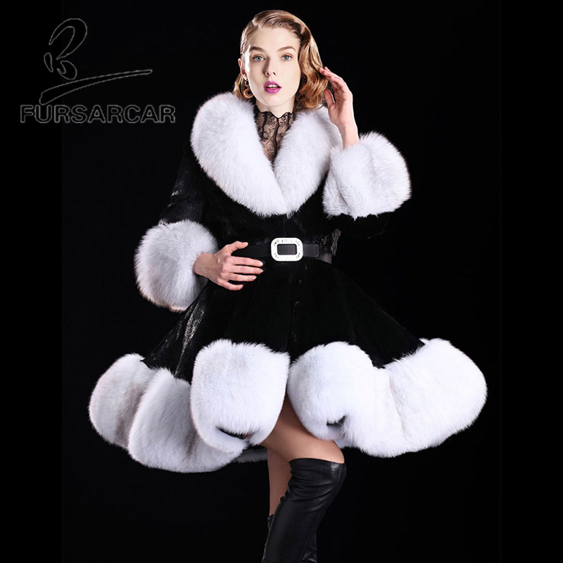 Rouge Femmes Lapin Manteau Longue Veste Mode Chaud Renard Vraie Fursarcar Nouveau Col Rex Hiver Fourrure Manteaux noir 2018 De vRFPx7wqTX